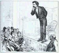 Mark Twain on stage